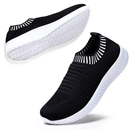 - HKR Walking Sneakers for Women Breathable Lightweight Casual Mesh Knit Slip On Tennis Shoes 7.5 US Black White(WD003heibai39)