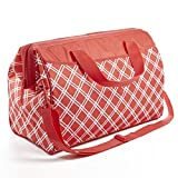Rachael Ray Large Capacity Wide-Mouth Cooler Bag for Shopping / Entertaining, Insulated Doctor Bag Style, Coral Bias Plaid