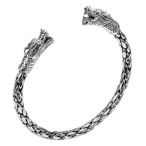 925 Silver Thai Bracelet - Two Asian Headed Dragon Thai Yao Hill Tribe Fine Silver Cuff Bracelet