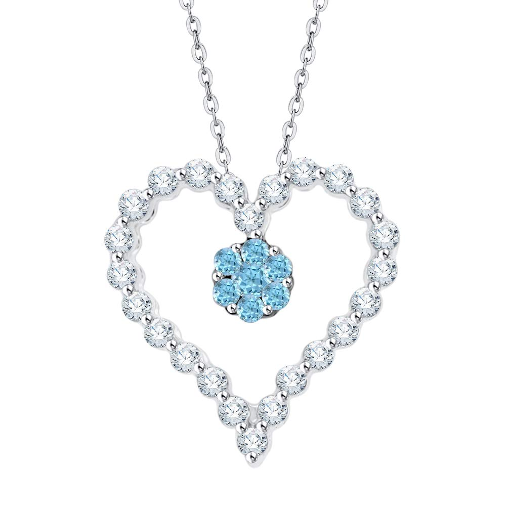 1//4 cttw, G-H, I2-I3 KATARINA Prong Set Diamond and Blue Topaz Heart Pendant Necklace in Gold or Silver
