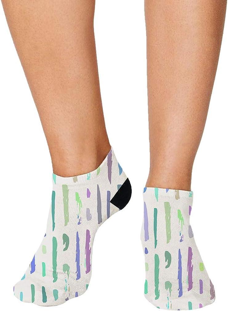 Purple Blue Green Pitter Pattern #2 Men-Women Adult Ankle Socks