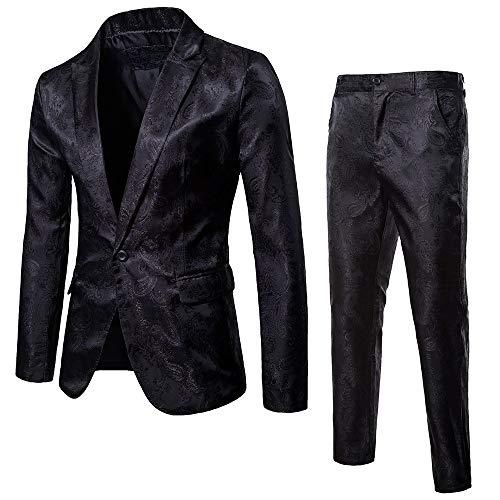 SFE 2-Piece Suit Blazer Jacket for Men's Single Button Suit Coat & Pants Tuxedo Wedding Party Banquet Prom Black