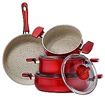 Hisar 7 Piece Aluminum Multigranit Neptun Cookware Set, Red