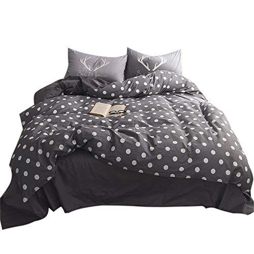 FenDie 3 Piece Duvet Cover Set with White Polka Dot Printed Simple Queen Bedding Set, Cotton Microfiber Quality, Zipper Closure