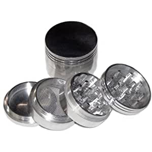 "GENERIC SILVER Four Piece NEW STYLE 2 1/4"" Herb, Spice or Tobacco Pollen Grinder (As shown)"