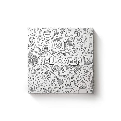 EZON-CHModern Canvas Wall Art Square Artwork Bedroom Living Room Home Office Decoration,Hand Halloween Candy Pumpkin Spider Design Poster Paintings,Stretched by Wooden Frame,Ready to Hang,12x12 -