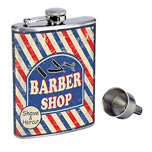 最大80%オフ! Perfection Inスタイル8オンスステンレススチールWhiskey Flask Perfection with Shave Free Funnel d-186 Barber Shop Flask Shave & Haircut B017GKXHV0, ミワマチ:5d769ab7 --- shrigajendrajewellers.com