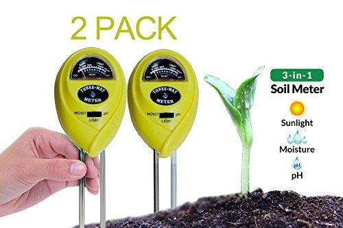 Dodoshop 2Pack Garden Farm 3 in 1 Soil Test Kit Moisture Light and PH Acidity Tester Meter (No Battery needed) Easy Read Indicator