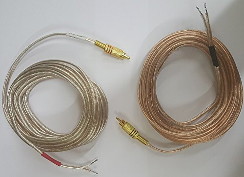 Pair of Gold Plated Metal RCA (PHONO) Red/Black Connectors to Open 16 awg Speaker Wire Leads (Heavy Duty 16 Gauge perfect for Amplifiers and Subwoofers) 20 Feet