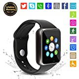 Bluetooth Smart Watch - WJPILIS Touch Screen Smart Wrist Watch Smartwatch Phone with SIM Card Slot Camera Pedometer Sport Tracker Compatible iOS iPhone Android Samsung LG for Men Women Child (Black1)