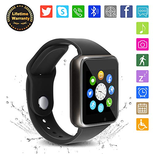 Bluetooth Smart Watch - WJPILIS Touch Screen Smart Wrist Watch Smartwatch Phone with SIM Card Slot Camera Pedometer Sport Tracker Compatible iOS iPhone Android Samsung LG for Men Women Kids (Black1)