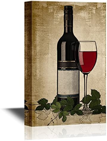 Red Wine Bottle and Glass on Vintage Background