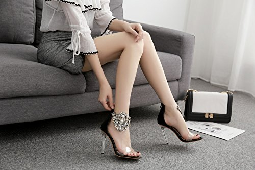 Heel Size Color Sparkling Heel Light Women's Black 40 Shoes Heels Glitter Fall up Club Summer PVC Shoes Translucent Heel Shoes Stiletto Crystal Platform xfxw17C