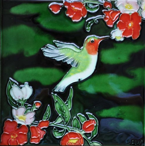 Continental Art Center BD-0432 8 by 8-Inch A Single Ruby Throated Hummingbird with Red Flowers Ceramic Art Tile