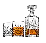 Whiskey Decanter set for Liquor Scotch Bourbon or Wine, Includes 2 DOF whisky glasses - Irish Cut