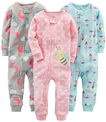 Simple Joys by Carter's Baby Girls' 3-Pack Snug Fit Footless Cotton Pajamas, Ballerina/Moon/Bee, 18 Months by Simple Joys by Carter's