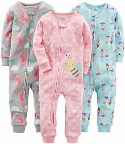 Simple Joys by Carter's Girls' 3-Pack Snug Fit Footless Cotton Pajamas