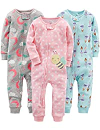 Girls 3-Pack Snug Fit Footless Cotton Pajamas