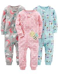 Simple Joys por Carter's Pijama de algodón sin pies, Paquete de 3, para bebés y niñas pequeñas