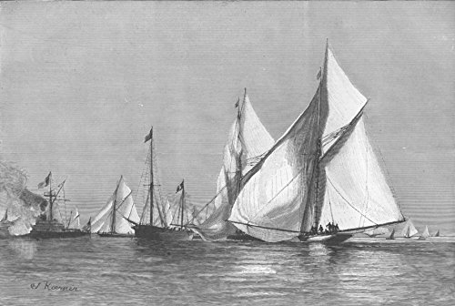 FRANCE. Nice Regatta-Yachts rounding judge's ship - 1892 - old antique vintage print - engraving art picture prints of France Ships - The Graphic ()