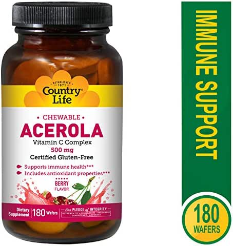 Country Life Acerola C, 500 mg, 180-Wafers