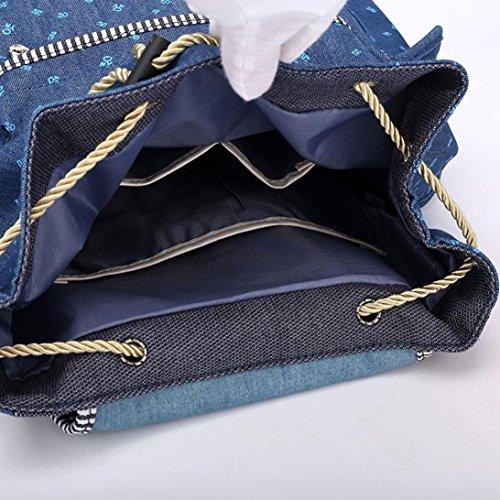 Sunshinehomely Women Girls Denim Drawstring Backpack Leisure Student Schoolbag Large Capacity Double Shoulder Travel Bag by Sunshinehomely (Image #7)