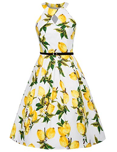 Yellow Lemon Floral Print 1950s Retro Vintage Halter Keyhole Dress S BP460-3