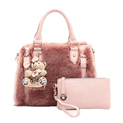 Donalworld Women Faux Fur Handbag Design Cute Gifts Winter Warm Shoulder Bag L Pt5