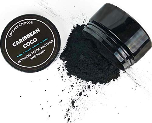 Caribbean Coco Charcoal Toothpaste - Teeth Whitening Coconut Powder - Activated Carbon 20g - USA MADE (Kit Carbon)