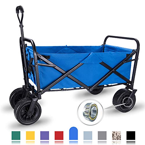 "WHITSUNDAY Collapsible Folding Garden Outdoor Park Utility Wagon Picnic Camping Cart with Wheel Bearing (Standard Size(Plus+) 8"" Heavy Duty Wheels, Blue)"