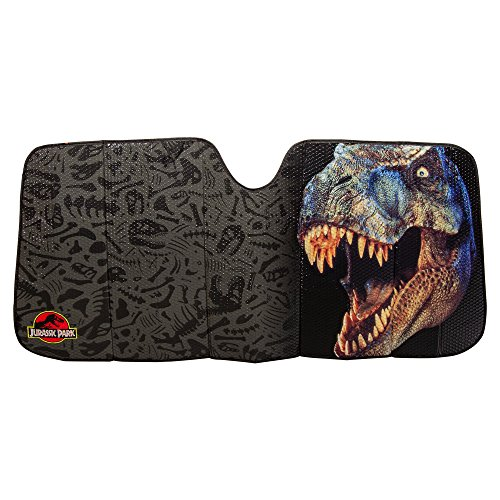 Plasticolor Jurassic Park World Logo Accordion Sunshade for Your Auto Car Truck SUV Vehicle - Universal Fit Dinosaur Raptor Sunshade (Jurassic Park Car)