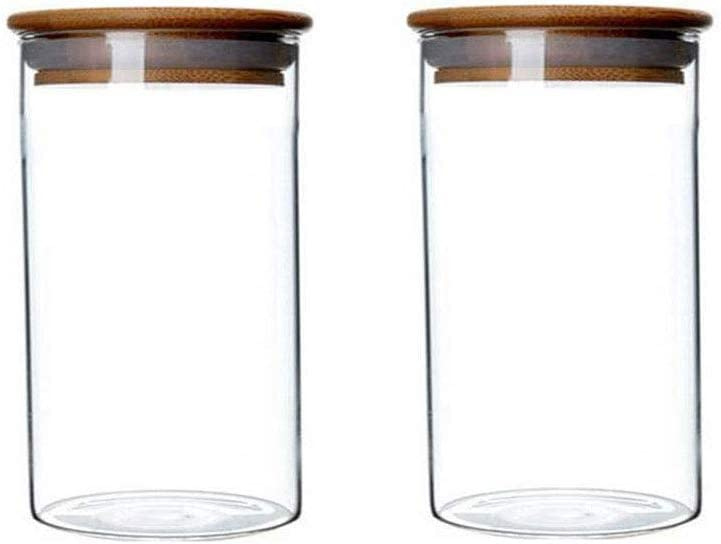 2Pcs Clear Glass Canisters Food Storage Jar With Airtight Seal Wood Lids Kitchen Food Storage Container for Coffee Bean Loose Tea Salt Containers Sugar Cookies Dry Fruit Nuts Candy Jars 350ML/11.7oz