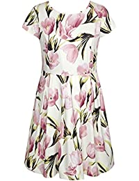 Women's Stretch Plus Size Lily Floral Printed Skater Dress With Cap Sleeves 1X-4X