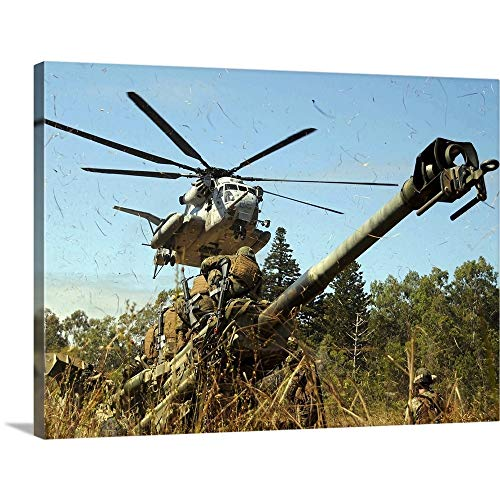 GREATBIGCANVAS Gallery-Wrapped Canvas Entitled an MH53E Sea Stallion Helicopter preparing to Lift an M777 105mm Lightweight Howitzer by Stocktrek Images 48