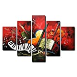 VASTING ART 5-Panel 100% Hand-Painted Oil Paintings Landscape Musical Instruments Piano Modern Abstract Artwork Canvas Stretched Wood Framed Ready Hang Home Decoration Wall Decor Living Bedroom Red