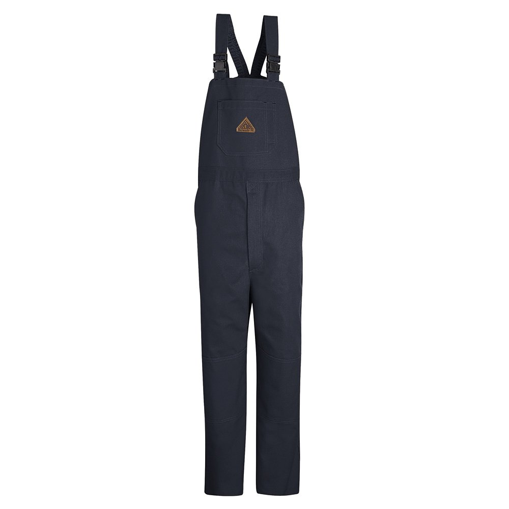 Bulwark Flame Resistant 11 oz Cotton/Nylon Excel FR ComforTouch Regular Duck Unlined Bib Overall with Two Large Hip Pockets, Navy Duck, 2X-Large by Bulwark FR (Image #1)