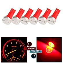 CCIYU 6X High Power T5 73 74 Wedge Instrument Cluster Speedometer LED Light Bulbs Red