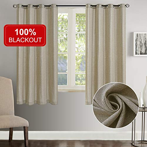 Rose Home Fashion 100% Blackout Curtains for Bedroom Linen Textured Look Drapes with Blackout Liner, Curtains for Living Room/Farmhouse, Burlap Curtains-Set of 2 Panels (50x63 Flaxen) (Living Luxury Room Formal Sets)