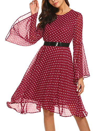 Hersife Women's Dresses Long Sleeve Round Neck Knee Length Chiffon Dress Wine Red S