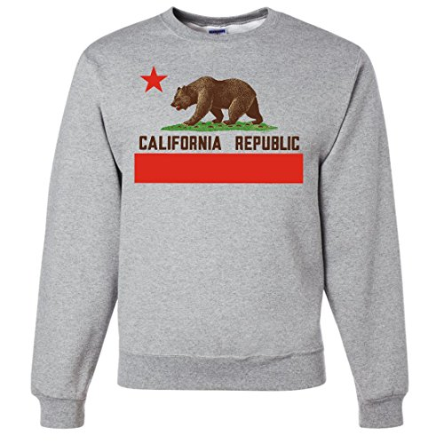 California Republic Bear Flag Brown Text Crewneck Sweatshirt - Ash Large