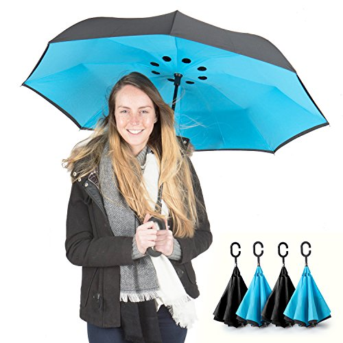 PowerLix Inverted Umbrella - Double Layer Large Reverse Folding Umbrella for Car Rain Outdoor, Windproof And UV Proof - Hands Free C-Shaped Handle, Self-Standing Feature – Carrying Bag Include