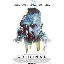 CRIMINAL - 27x40 Original Movie Poster One Sheet 2016 Kevin Costner Gal Godot