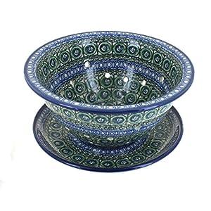 Blue Rose Polish Pottery Indigo Berry Bowl & Plate