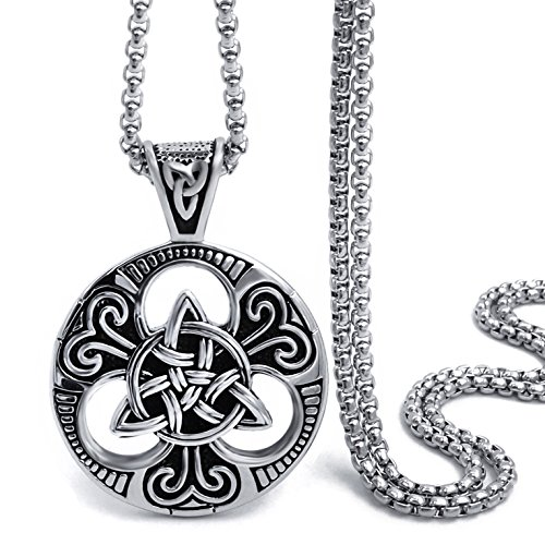 Elfasio Large Celtic knot Magic Both Sided Pendant Necklace Men's Stainless Steel Box Chain Jewelry(24inch)