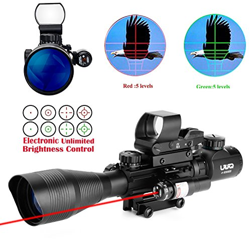 UUQ C4-12X50 AR15 Rifle Scope Dual Illuminated Reticle W/ GREEN(RED) Laser Sight and 4 Tactical Holographic Dot Reflex Sight (12 Month Warranty) (Red Laser W/ New Dot Sight)