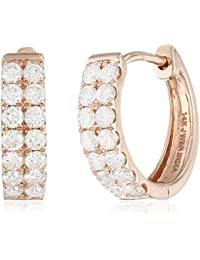 14k Rose Gold Diamond Double Row Hoop Earrings (3/4cttw)