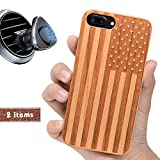 wood iphone 6 case made in usa - iProductsUS USA Flag Phone Case Compatible with iPhone 8 7 6/6S Plus (ONLY) and Magnetic Mount-Real Wood Cases Engraved American Flag Built in Metal Plate,TPU Rubber Shockproof Protective Cover (5.5