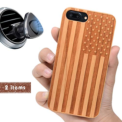 iProductsUS USA Flag Phone Case Compatible with iPhone 8 7 6/6S (Regular Size) and Magnetic Mount-Wood Cases Engraved American Flag, Built-in Metal Plate,TPU Rubber Shockproof Protective Covers (4.7