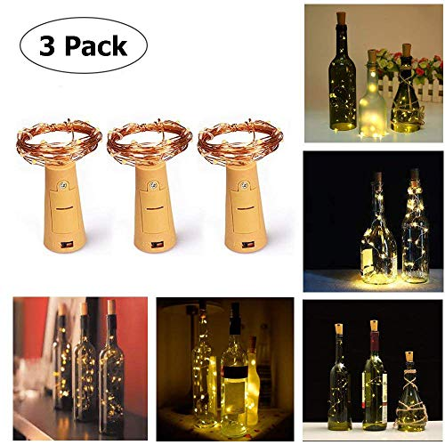 Copper 3 Candelabra Sockets - Cork Shape Lights, Anzome 32 Inch/80cm 15 LEDs Battery Powered Fairy Lights Copper Wire Micro LED Water-resistant Starring Lights for Wine Bottle Christmas Wedding Party Decoration Indoor DIY