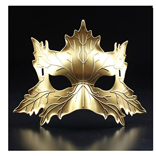 primerry Halloween Party Cosplay Festival Performance Props Halloween Supplies Bar Dance Animal Maple Leaf Masks (Golden)]()